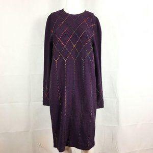 Steve Fabrikant Purple Midi Sweater Dress Sz S